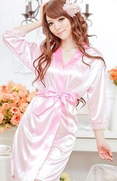 ชุดคลุมนอนสีชมพู